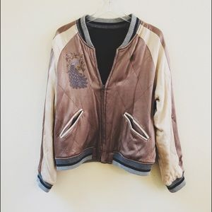 Anthropologie Embroidered Bomber Jacket Size Large